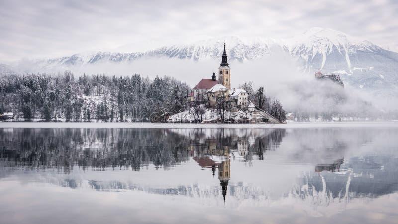 Sjö som blödas med kyrkan för St Marys av antagandet på den blödde lilla ön -, Slovenien, Europa royaltyfria bilder