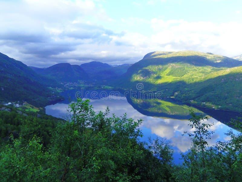 Sjö, växter och härliga berg, Norge royaltyfria foton