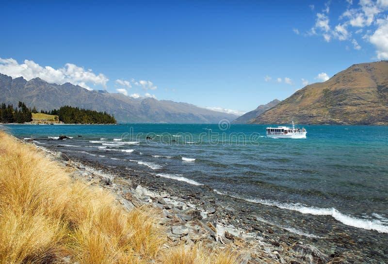 Sjö Wanaka, Otago region av Nya Zeeland fotografering för bildbyråer