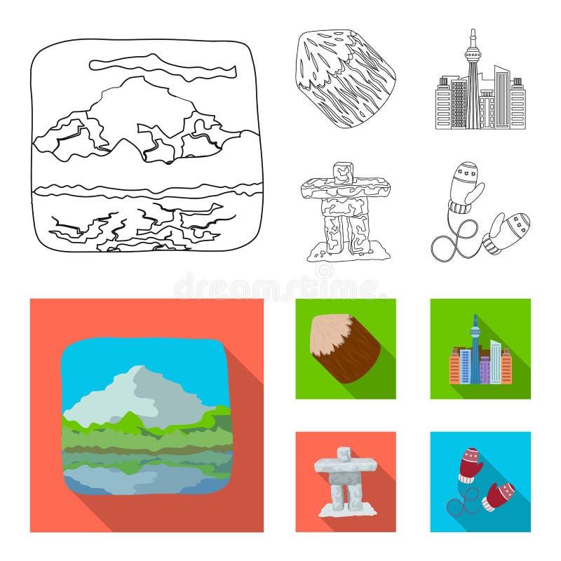 Sjöar, berg, tornet av SI-EN och andra symboler av Kanada Kanada ställde in samlingssymboler i översikten, lägenhetstil royaltyfri illustrationer