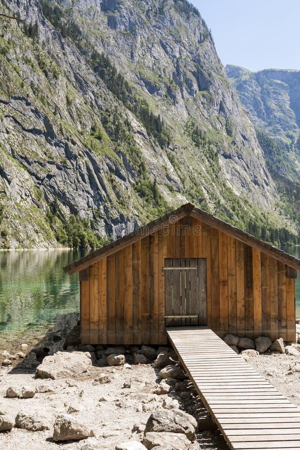 Sjöbod på Obersee royaltyfri bild