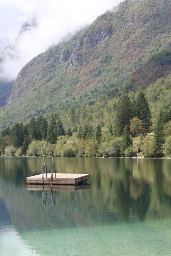 SjöBohinjsko jezero, Bohinj, Slovenien royaltyfria foton