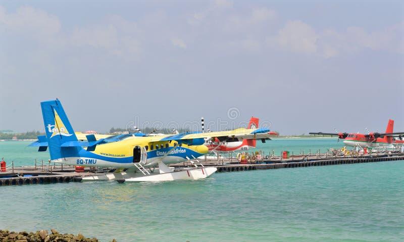 Sjöflygplan man, Maldiverna royaltyfria bilder