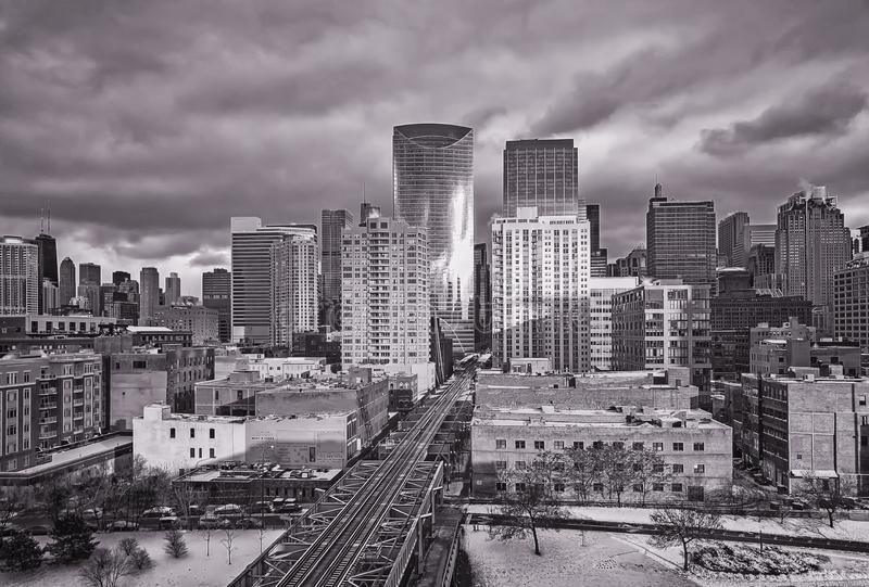 Sjögata i Chicago Lång exponering, stads- horisont Illinois USA royaltyfria bilder