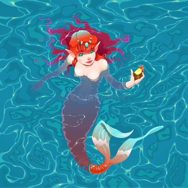 Sjöjungfru i vattnet med ett stycke av guld. stock illustrationer
