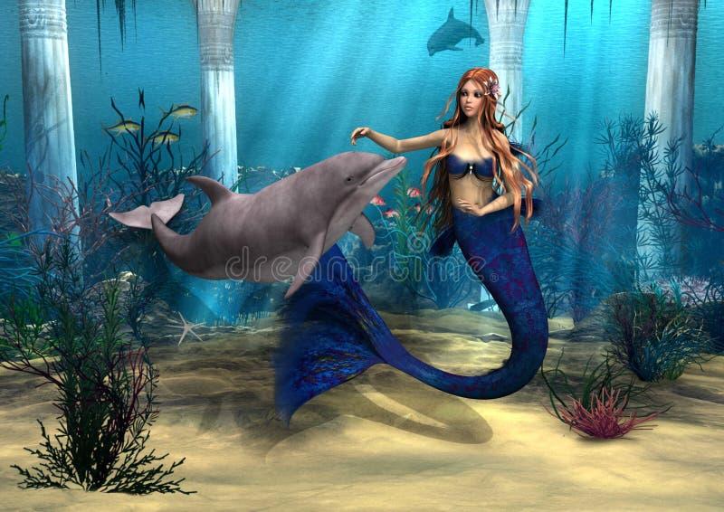 Sjöjungfru och delfin royaltyfri illustrationer
