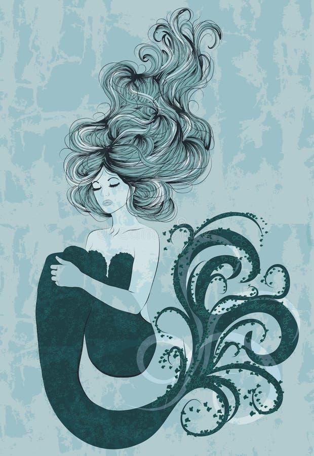 Sjöjungfru som svävar i vatten stock illustrationer