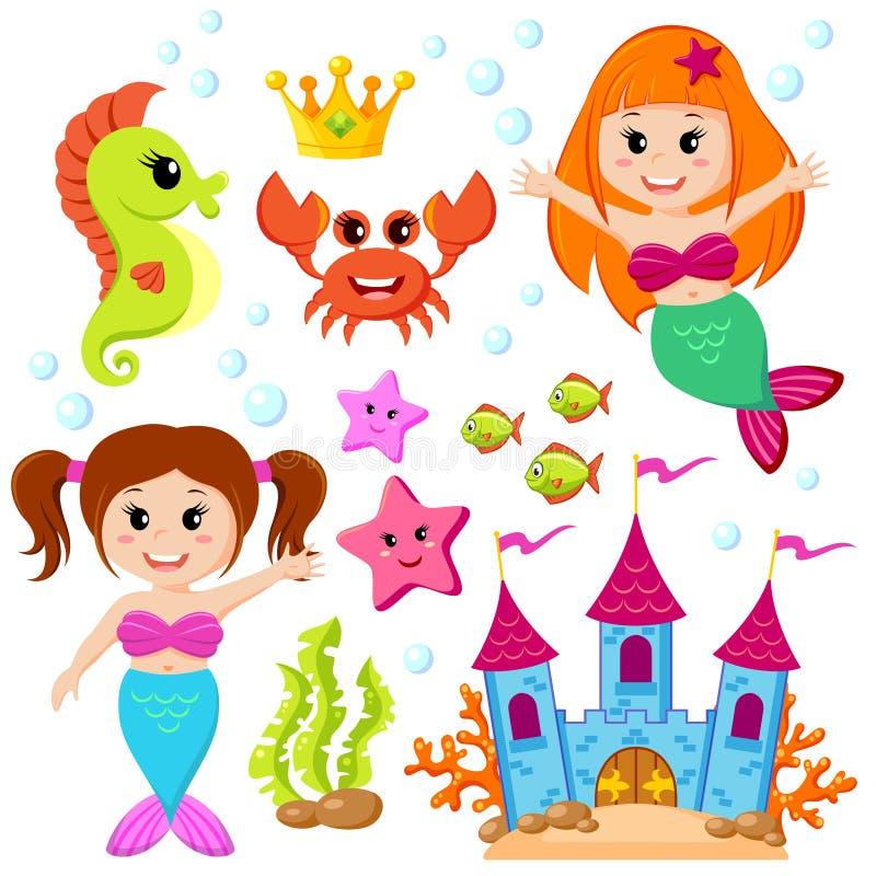Sjöjungfru, undervattens- slott och havsdjur Fisk sjöstjärna, seahorse, krabba, crovn stock illustrationer