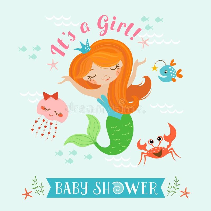 Sjöjungfrubaby shower stock illustrationer