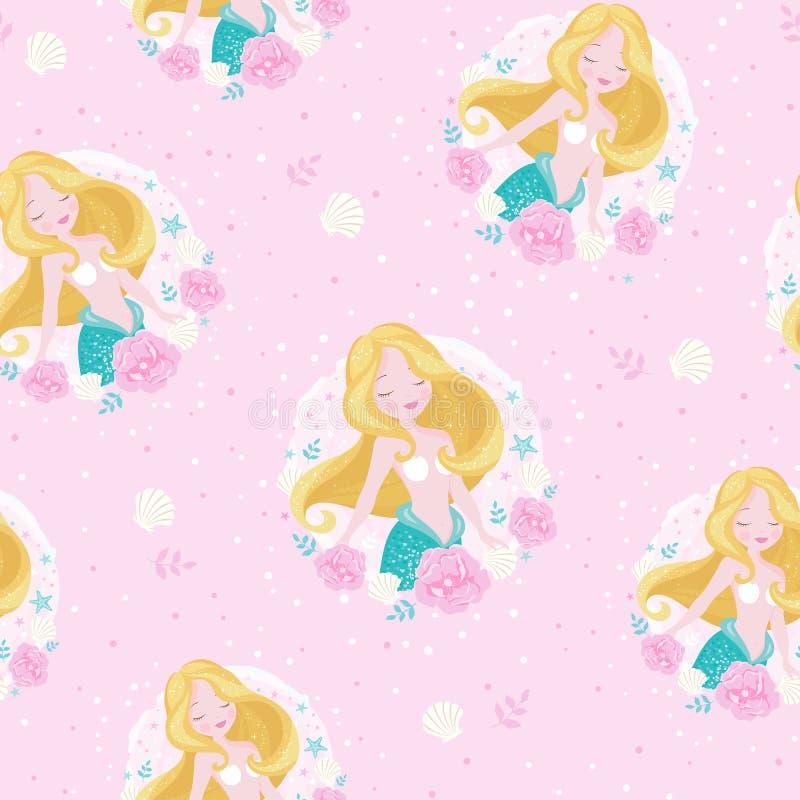 Sjöjungfrublondin Modell för ungemodekonstverk, barnböcker, tryck och tyger eller tapeter Flickatryck Design f?r ungar stock illustrationer