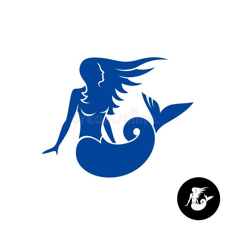 Sjöjungfrukonturlogo Blå ung kvinnlig marin- skapelse vektor illustrationer