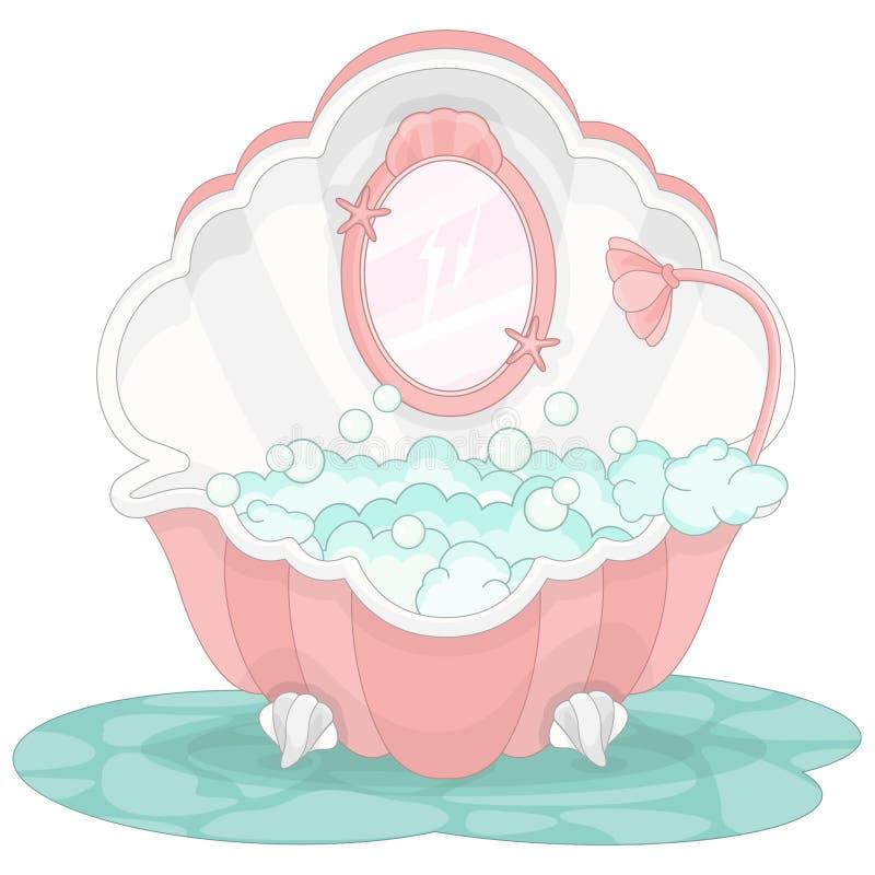 Sjöjungfrumagibadkar stock illustrationer