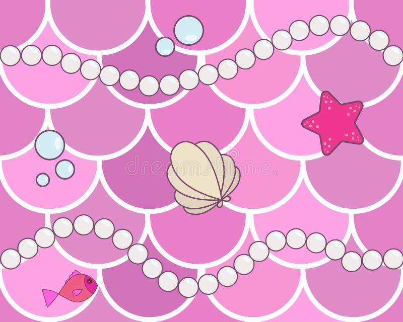 Sjöjungfrun graderar den sömlösa bakgrundsmodellen Rosa intelligens för fiskvåg vektor illustrationer