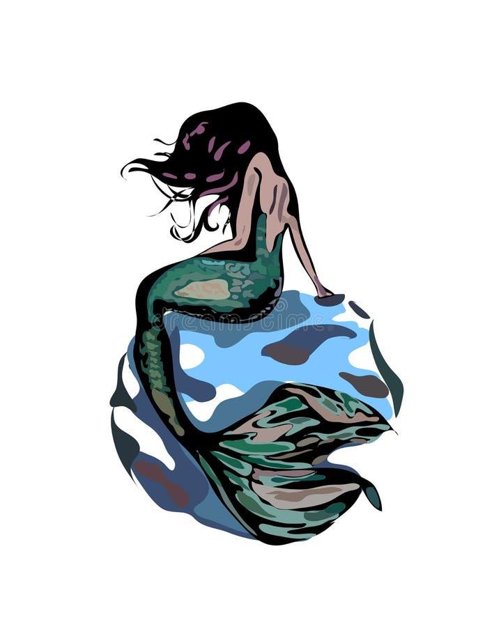 Sjöjungfrun med hår och den gröna svansen på en blått vaggar isolerat på vit bacground Sjöjungfruillustration vektor illustrationer