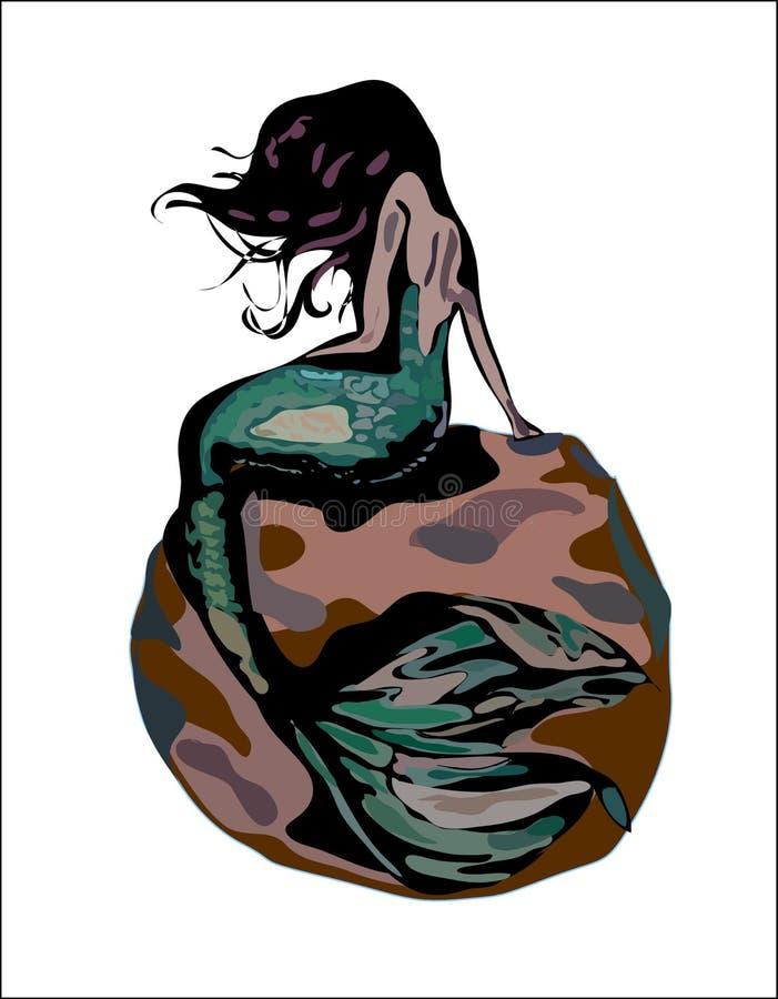 Sjöjungfrun med hår och den gröna svansen på en brunt vaggar isolerat på vit bacground Sjöjungfruvektorillustration royaltyfri illustrationer