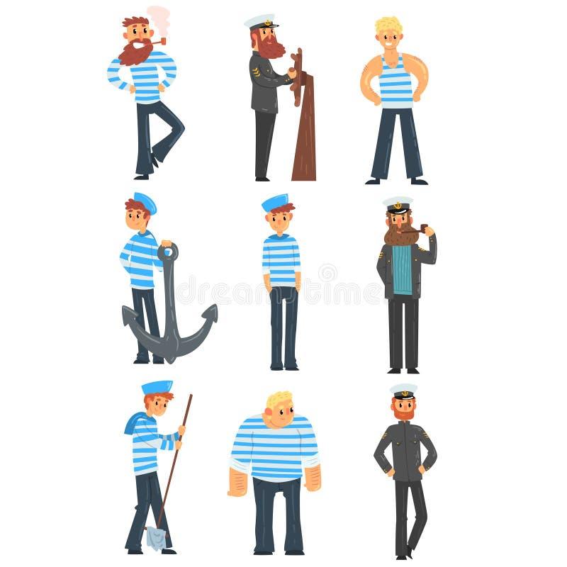 Sjömän och kaptener som gör deras jobb, sjömantecken i enhetlig vektorillustration på en vit bakgrund royaltyfri illustrationer