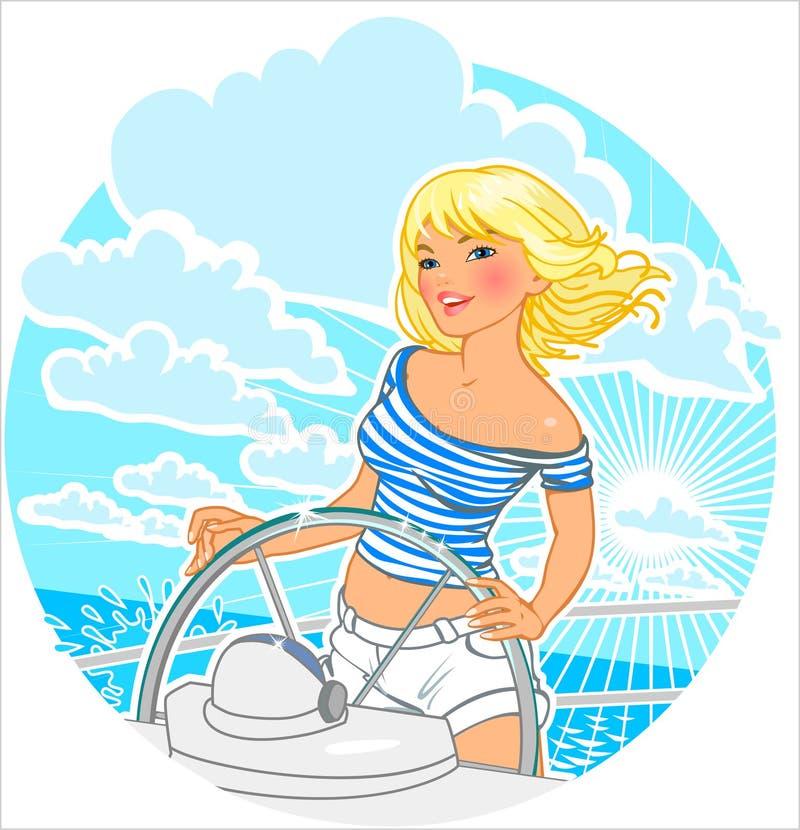 Sjöman Girl royaltyfri illustrationer