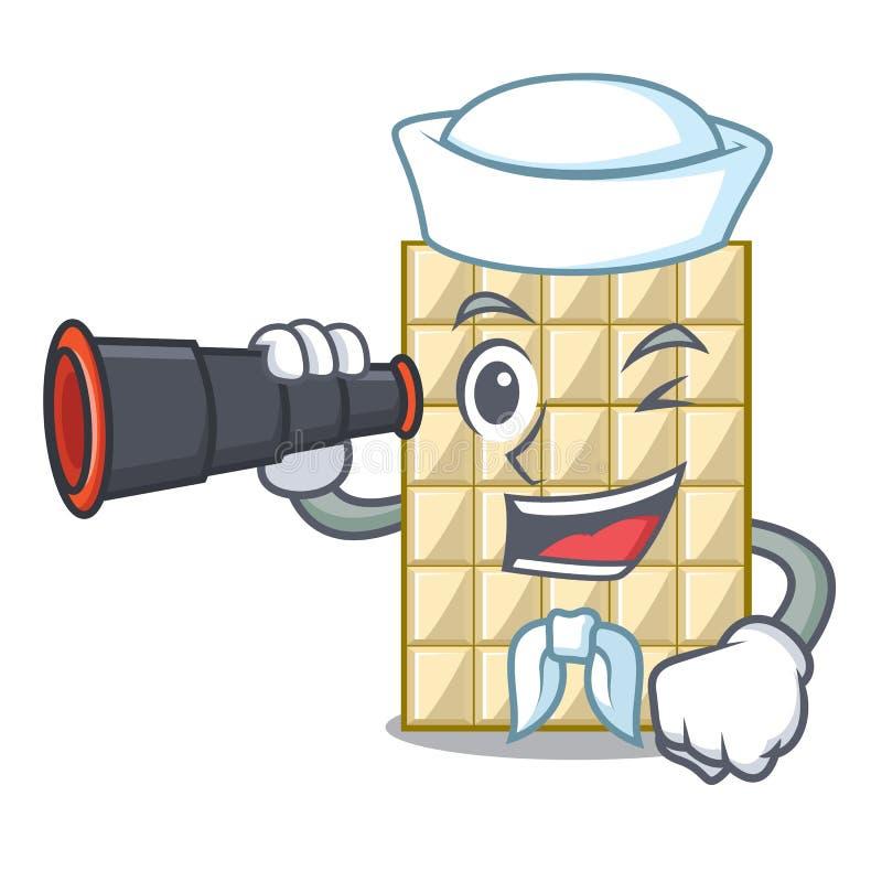 Sjöman med binokulär vit choklad på maskotträtabellen vektor illustrationer