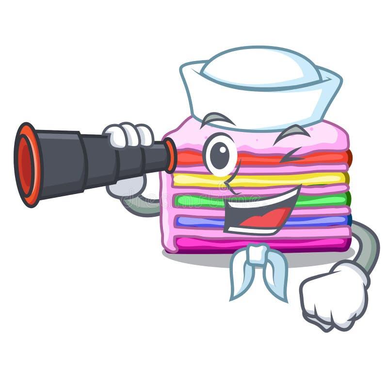 Sjöman med den binokulära regnbågekakan i tecknad filmformen vektor illustrationer