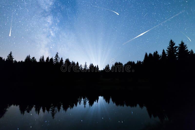 Sjön för fallande stjärnor sörjer trädkonturVintergatan royaltyfri bild