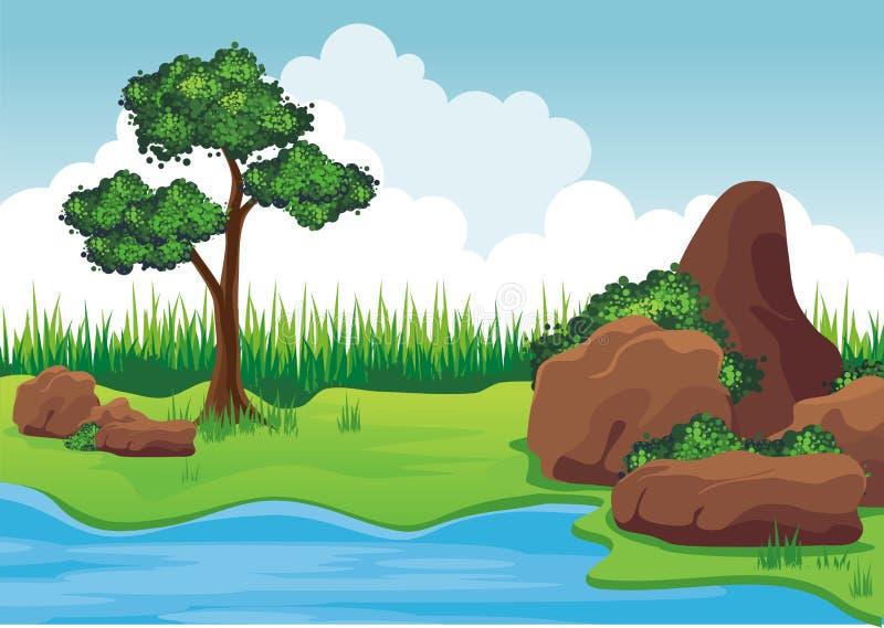 Sjön på kullen med vaggar stock illustrationer