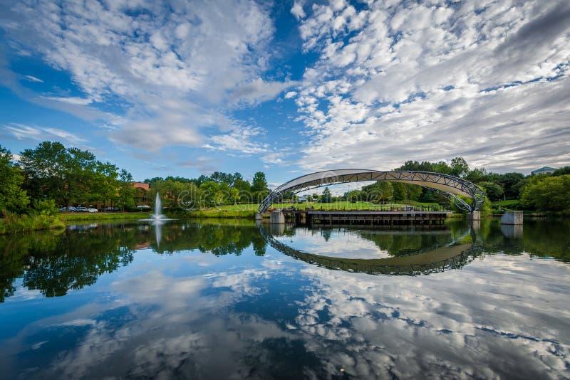 Sjön på symfonin parkerar, i Charlotte, North Carolina royaltyfri foto