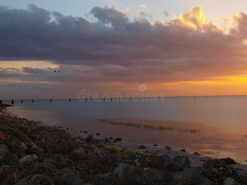 SjöOkeechobee solnedgång fotografering för bildbyråer