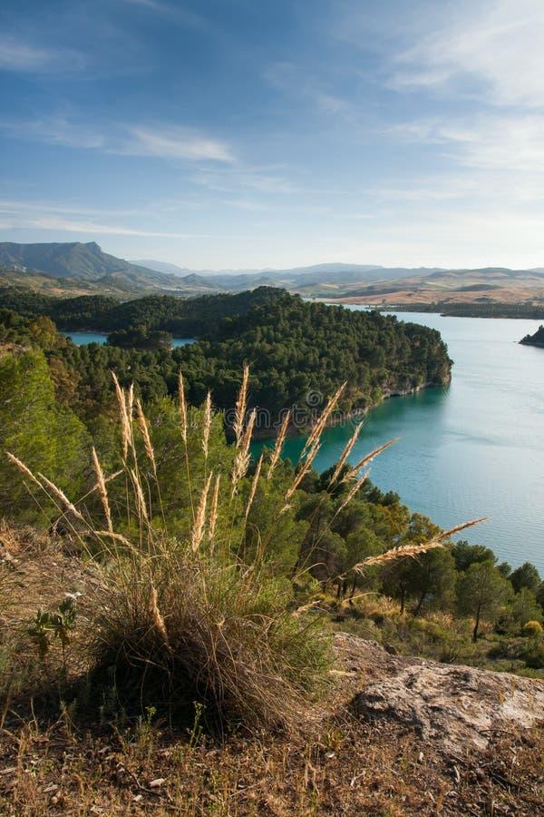 Sjöområde i Andalusia Spanien royaltyfri bild