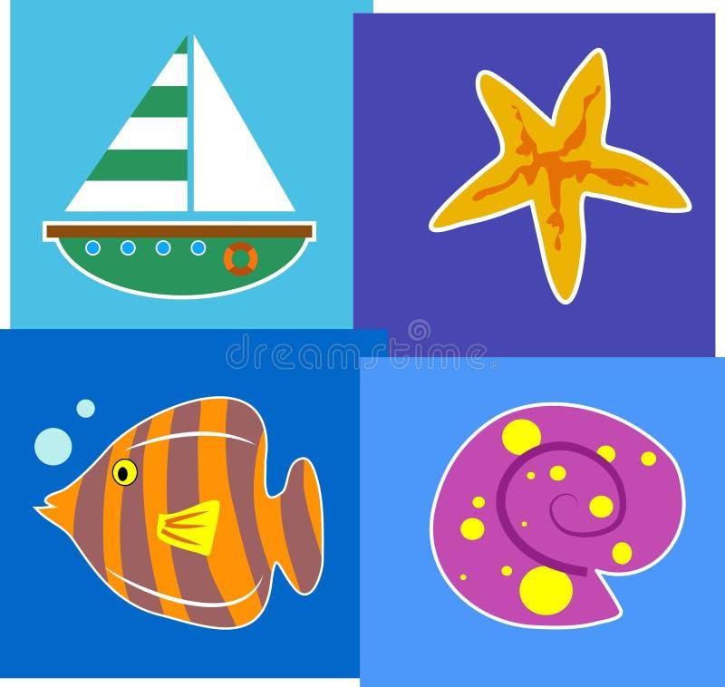 sjösida royaltyfri illustrationer