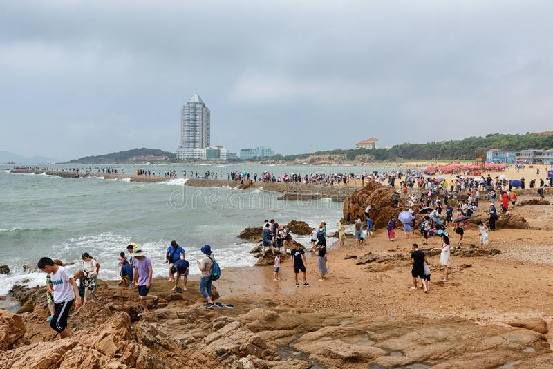 Sjösida av Qingdao arkivfoton