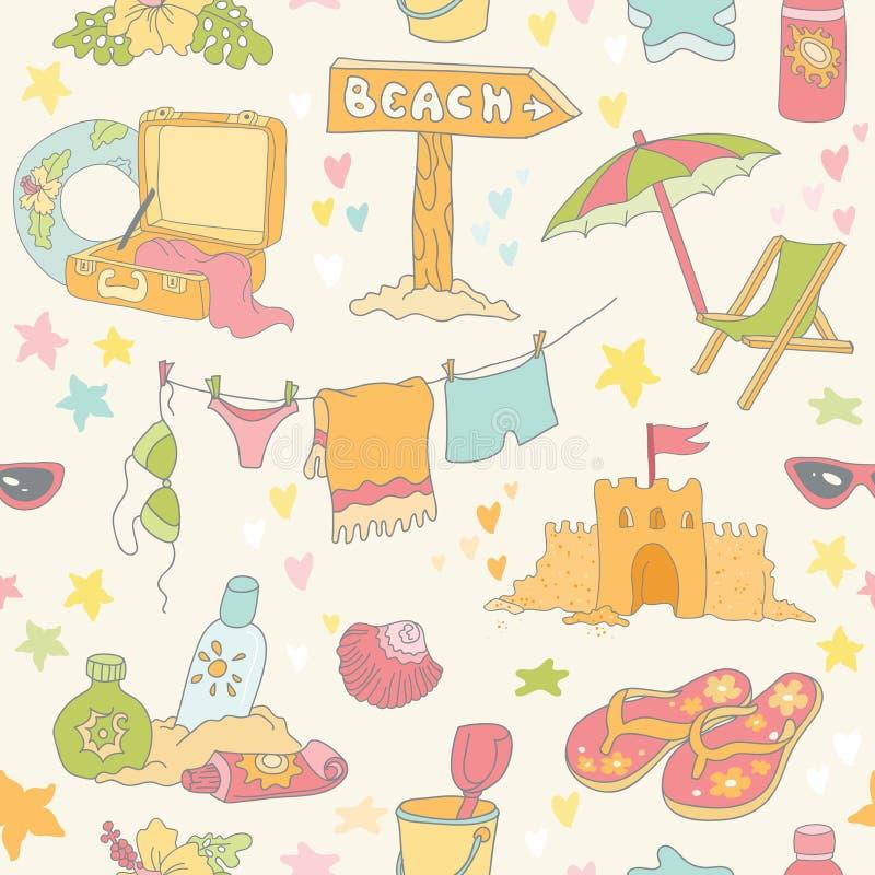 Sjösida och sommarbakgrund royaltyfri illustrationer