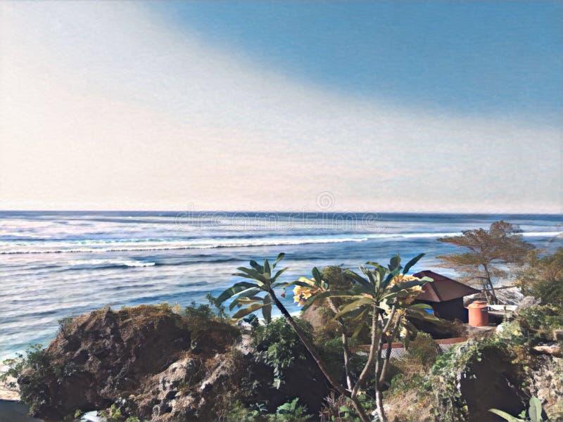 Sjösidalandskap med den långa bränningvågor och palmträdkullen stock illustrationer
