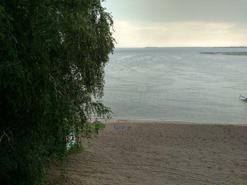 Sjöstrand på en regnig dag med en filt som har glömt sikten av horisontbjörkträdet med sidamakrodroppe i sikten fotografering för bildbyråer