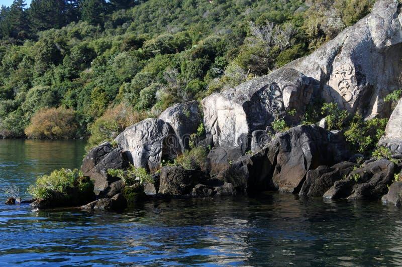 SjöTaupo norr ö Nya Zeeland arkivbilder