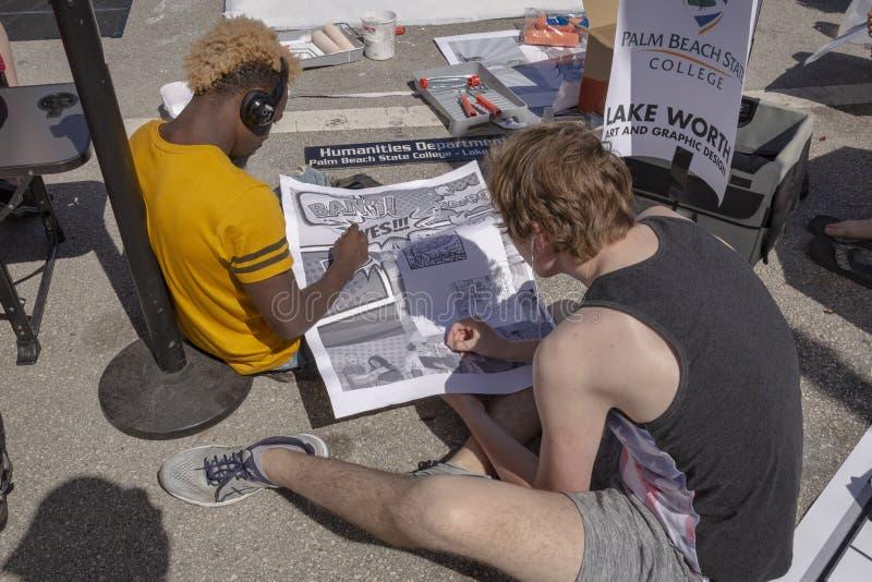 Sjövärde, Florida, USA Fab 23-24, 25Th årliga gata som 2019 målar festival royaltyfri fotografi
