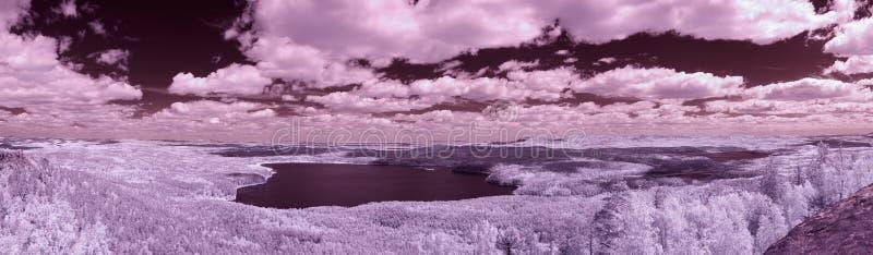 Sj? Arakul Panorama- infrarött foto från den stora Sheehanen royaltyfria foton