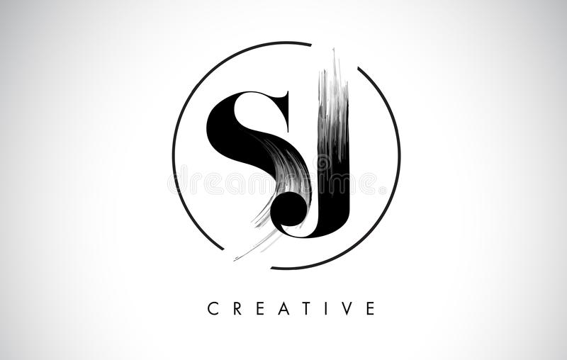 SJ de Brief Logo Design van de borstelslag Zwarte Verf Logo Letters Icon royalty-vrije illustratie