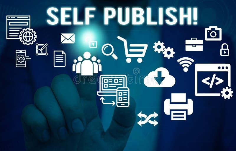 Sj?lven f?r ordhandstiltext publicerar Affärsidéen för författare att publicera stycket av en arbetar självständigt på egen kostn arkivbild