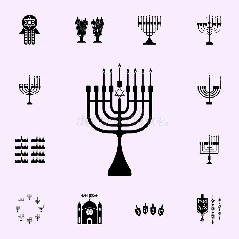 sj?tte natt av Chanukkahsymbolen Universell upps?ttning f?r Chanukkahsymboler f?r reng?ringsduk och mobil vektor illustrationer