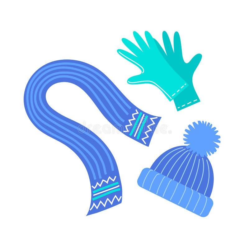 Sjaal, hoed en handschoenen royalty-vrije illustratie