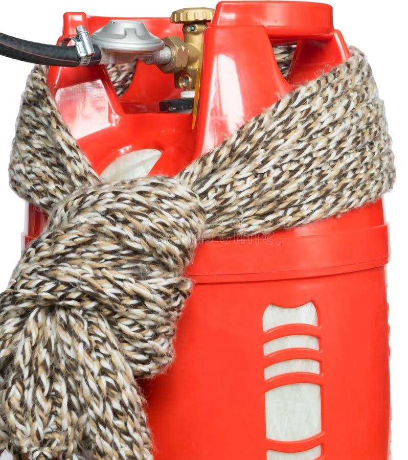 Sjaal op een rode gashouder wordt gebonden die royalty-vrije stock afbeeldingen