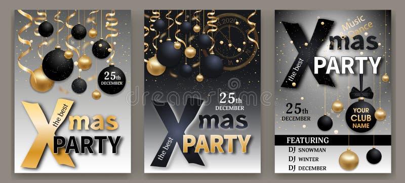 Sjablonen voor uitnodigingen voor kerstfeestdagen Stel Kerstmis en Nieuwjaar elegante achtergronden zwart en grijs in, met zwarte vector illustratie
