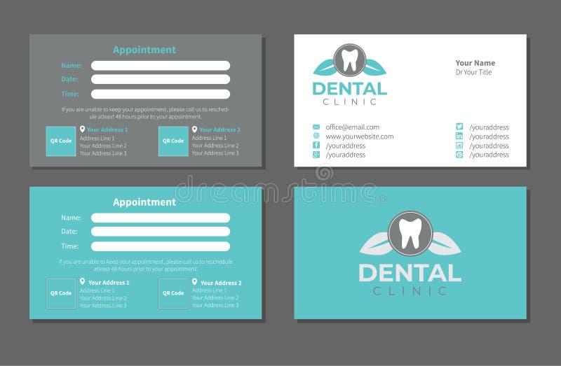 Sjabloonset voor Dentist Business Card royalty-vrije illustratie