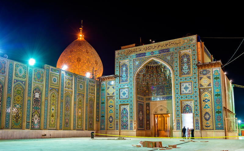 Sjah Cheragh, een funerary monument en een moskee in Shiraz - Iran royalty-vrije stock foto's