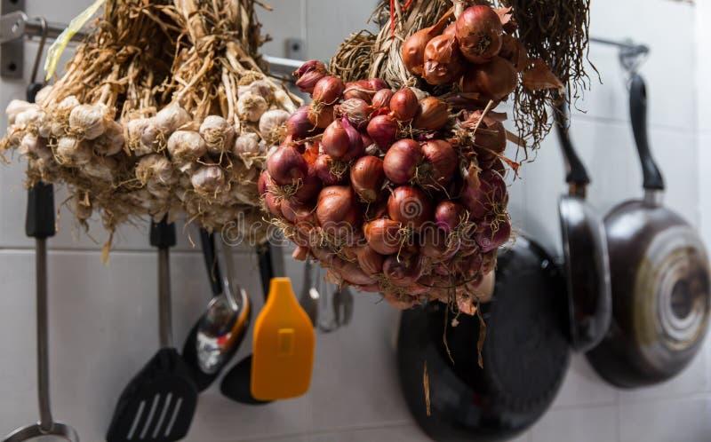 Sjalotten en garlics stock afbeeldingen