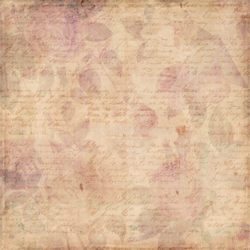 Sjaskig bakgrund för Grungy botaniska tappningro royaltyfri illustrationer