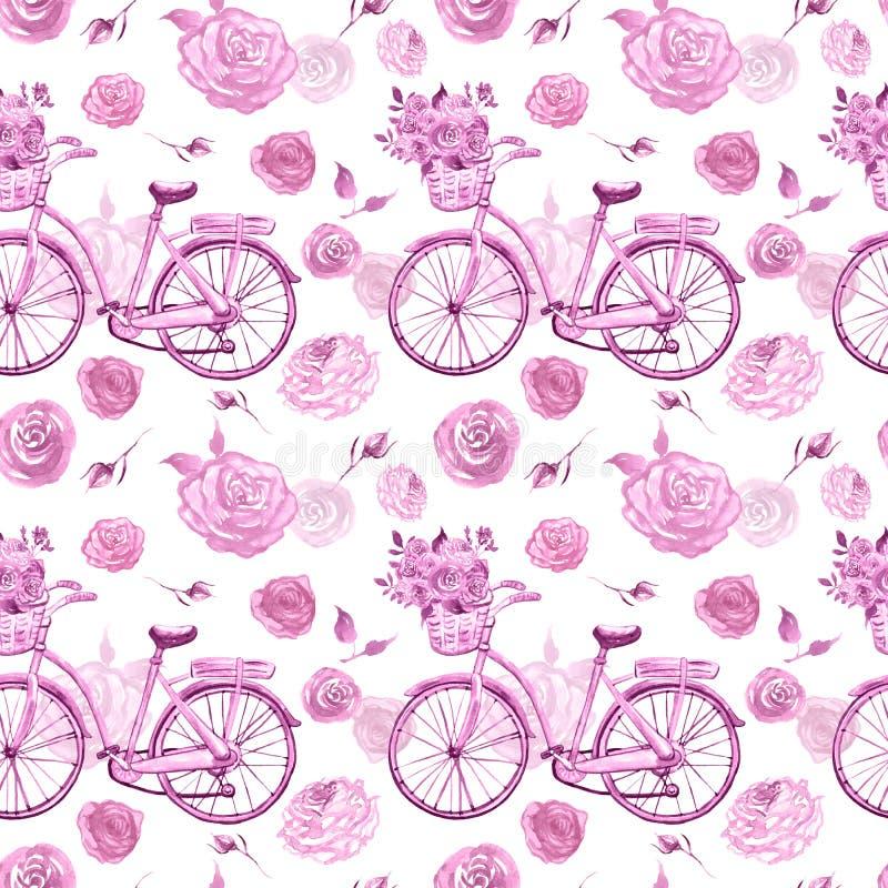 Sjaskig chic sömlös modell för vattenfärg med den retro cykeln och rosa blommor på vit bakgrund Botaniskt tryck i tappningstil royaltyfri foto