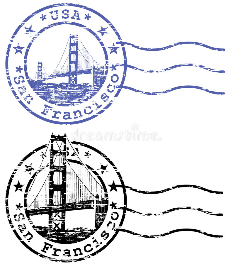 Sjaskig stämpel med cityscape av San Francisco och G stock illustrationer