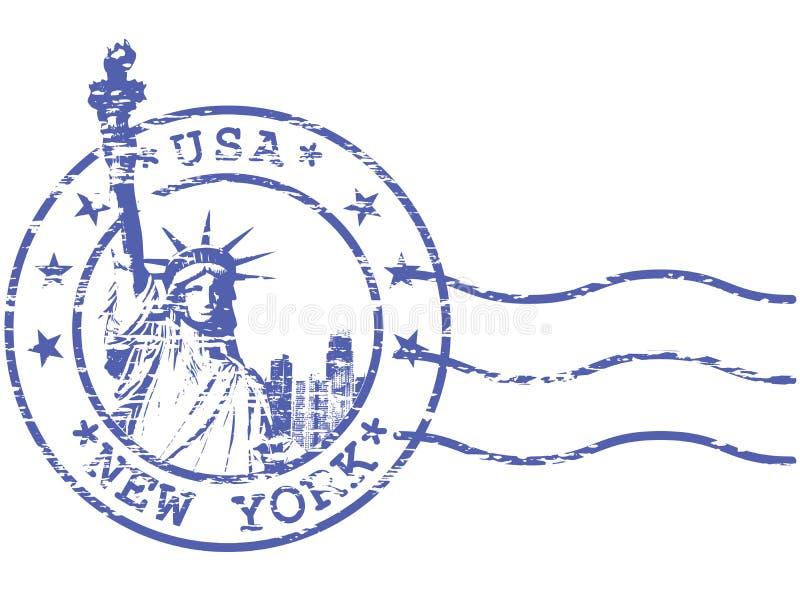 Sjaskig stämpel med statyn av frihet stock illustrationer