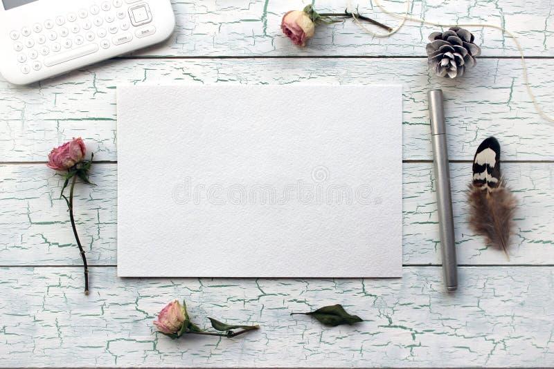 Sjaskig stil, Boho modell för presentationer med torra rosor royaltyfri foto
